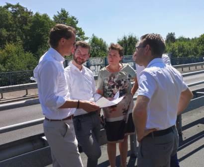 Verkehrsminister Hendrik Wüst, Flo Braun MdL, Anne Henk-Hollstein MdR, Werner Marx, Fraktionsvorsitzender BV Porz